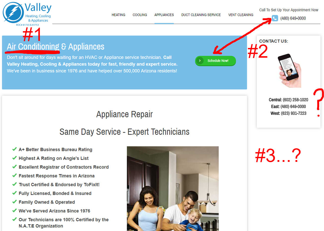 appliance repair landing page mistakes